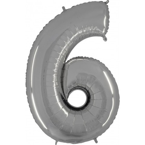 Palloncino a forma di numero 6 argento