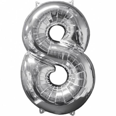 Palloncino a forma di numero 8 argento