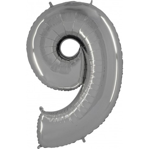 Palloncino A Forma Di Numero 9 Argento