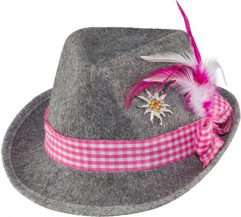 Cappello bavarese con spilla bianco e rosa