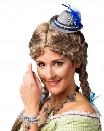 Cappello bavarese mini bianco e blu con pinza