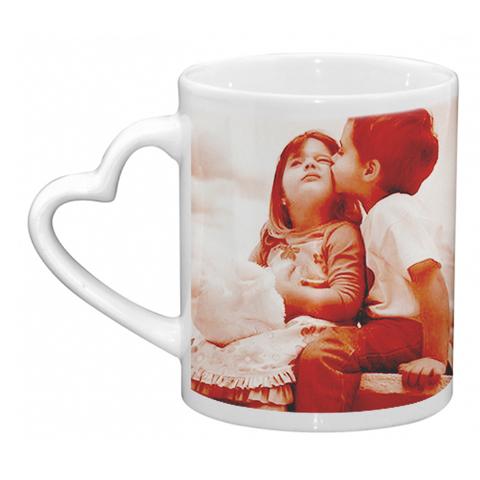 Stampa tazza personalizzata con manico a cuore