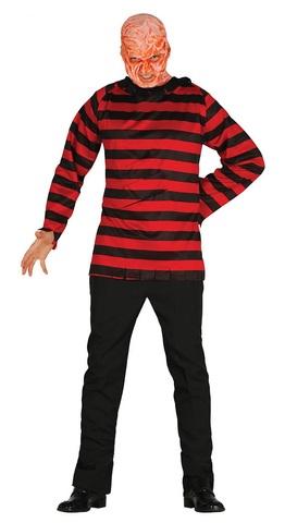 Maglietta a righe rosse e nere di freddy krueger