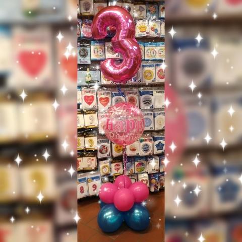 Composizione di palloncini per 3 anni e bubble happy bithday