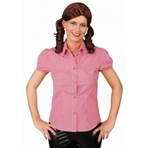 Camicia bavarese da donna a quadretti rossi