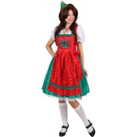 Vestito bavarese da dirndl verde e rosso con grembiule