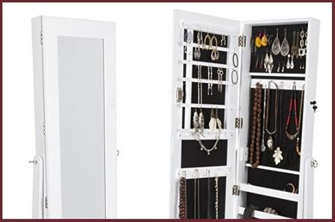 Armadio specchio portagioie gioielli bianco laccato