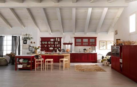 Cucina colore rosso con anta a telaio