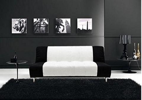 Divano letto bicolore bianco e nero