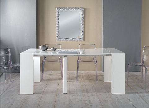 Tavolo in legno consolle allungabile bianco laccato