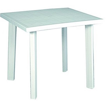 Tavolo bianco in resina per il giardino o balcone