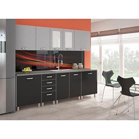 Cucina completa ante grigio e nero