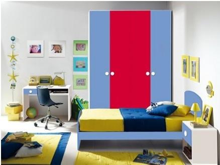 Cameretta per ragazzi contemporanea e colorata