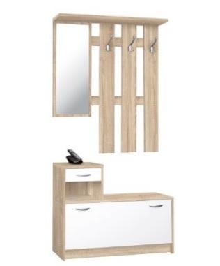 Parete moderna in quercia per l'ingresso con specchio