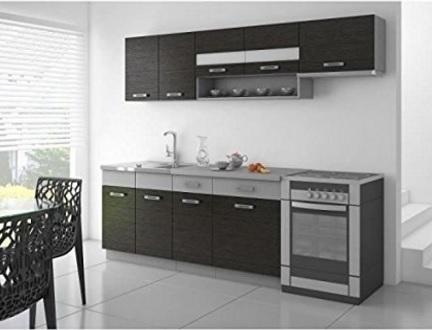 Cucina completa con mobili sospesi nero e grigio opaco