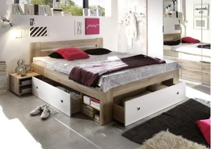 Letto futon con cassetti in quercia