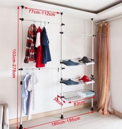 Cabina armadio con sistema regolabile