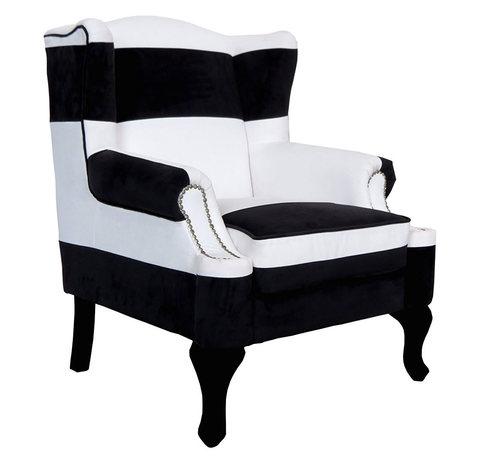 Poltroncina in stoffa bianco e nero