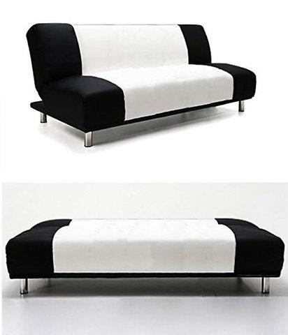 Modello divano letto in tessuto bianco e nero