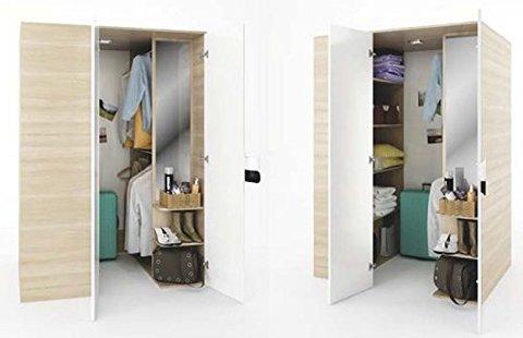 Cabina armadio con pannellatura in finitura effetto tessuto