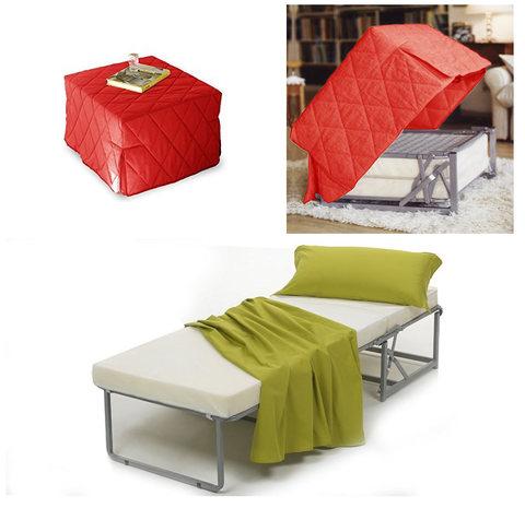 Pouff letto rosso trasformabile