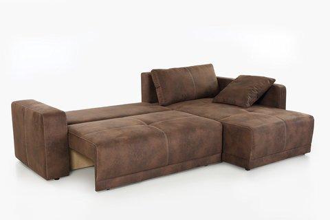 Divano moderno con penisola tessuto marrone