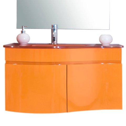 Mobile bagno arancione con lavabo in cristallo