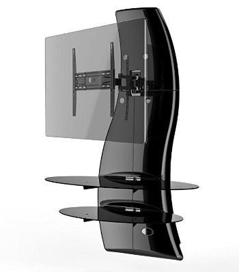 Porta tv attrezzata da parete con mensole in vetro temperato grandi sconti arredamento - Porta televisore in vetro ...