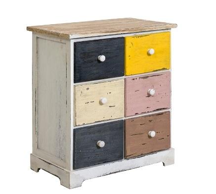 Comodino cassettiera colorato in legno
