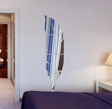 Specchio adesivo a forma di piuma in 3d