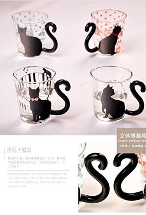 Tazza in vetro con gatti per appassionati