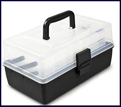 Accessori e scatola trasparente per iniziare a pescare