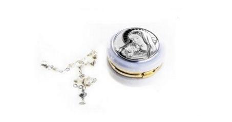 Portapillole religioso con bracciale rosario