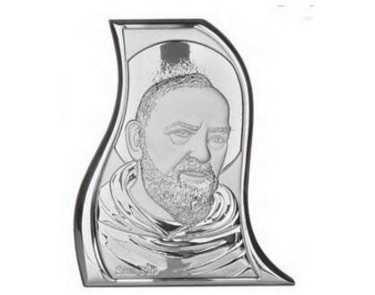 Piastra sacra icona in argento padre pio