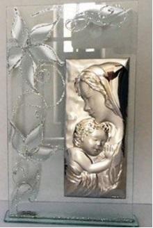 Quadretto rettangolare argento religioso maternità