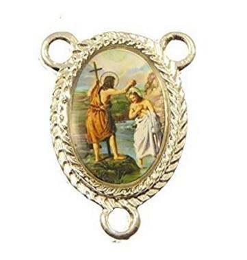 Piastrina rosario san giovanni battista in metallo