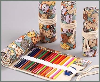 Astuccio arrotolabile per matite colorate
