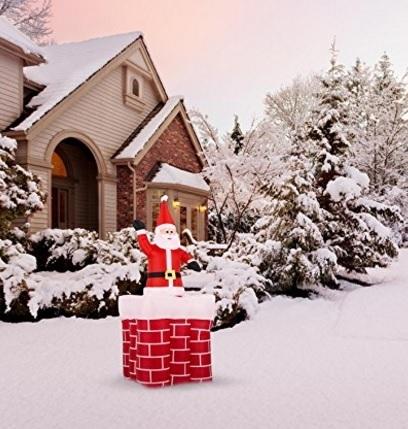 Babbo natale e camino gonfiabili decorazione natalizia