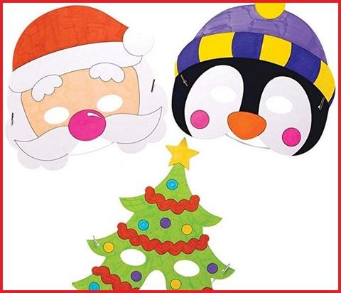 Babbo Natale Maschere Da Colorare