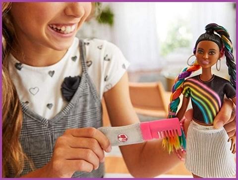 Barbie capelli arcobaleno afroamericana