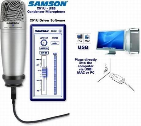 Microfono da studio con collegamento usb samson c01u