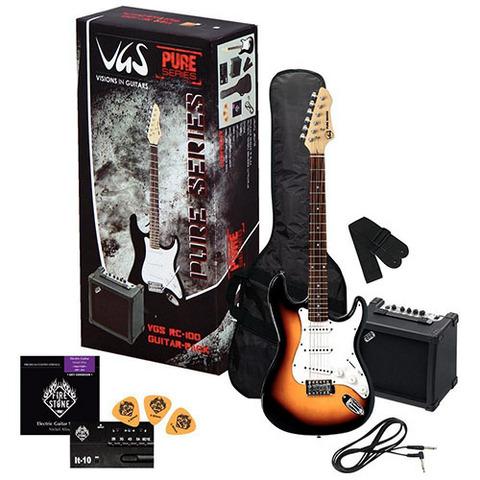 Kit chitarra elettrica + amplificatore + accessori sunburst