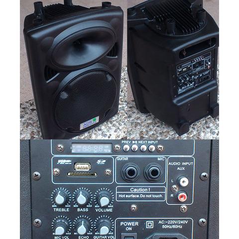 Amplificatore a batteria con radiomicrofono e lettore usb/sd