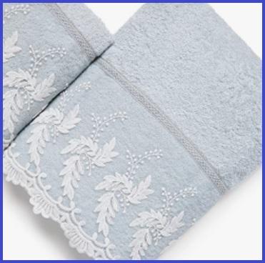 Asciugamani in cotone con merletto