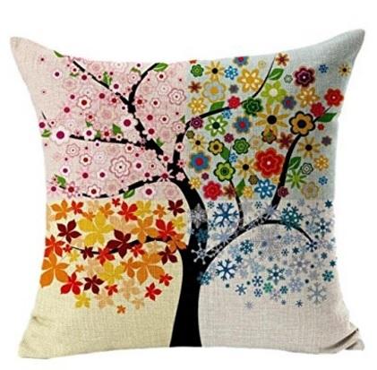 Cuscino con stampa colorata albero vita federa