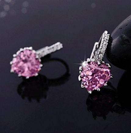 Orecchini swarovski rosa a forma di cuore