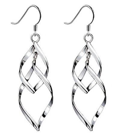Orecchini pendenti con torsione in rame e argento