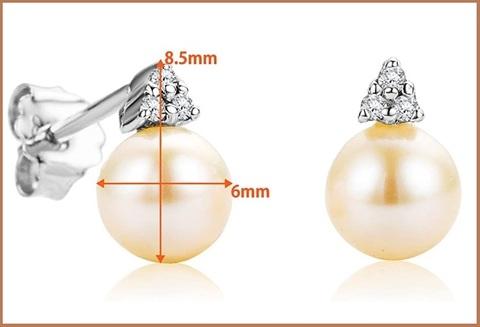 Orecchini con perla e brillanti in oro bianco eleganti