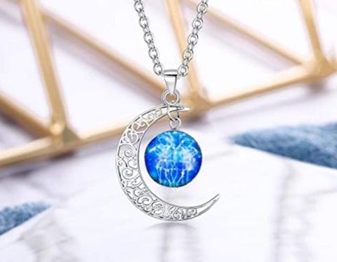 Collana mezzaluna con segno zodiacale