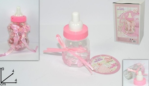 Biberon portaconfetti rosa bomboniera per battesimo